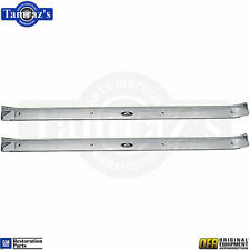 71-76 BCE Body Door Sill Trim Scuff Plate w/ Riveted Body Fisher Tag - OER PAIR