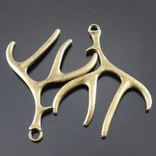 9pcs Antique Style Bronze Tone Deer Antlers Horn Alloy Charm Pendants