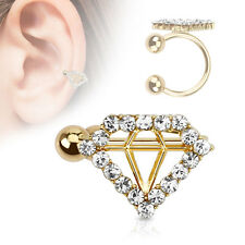 "Clip On Fake Ear Cuff Cartilage Earring Ring 3/8"" Non Pierced Diamond Adjustable"