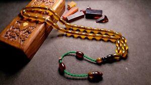 NO SIMILAR - 100% Original -- Amber Bakelite Prayer Beads Muslim Tesbih Rosary