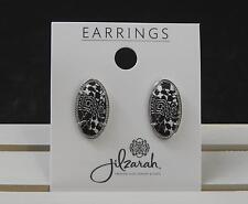 Earring Polymer Clay Bead Artisan B19 Jilzara Black White Post Silver Tone Frame
