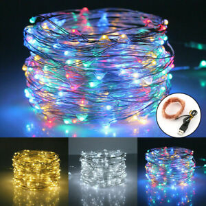 USB 50/100/200 LEDs Micro Copper Wire Fairy String Lights Wedding Christmas Xmas