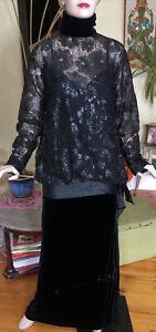 Vintage Christian Dior Boutique Black drop waist evening dress Lace Velvet Sz 40