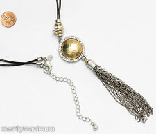 Chico's Signed Long Necklace Silver Tone Chain Tassel Gold Hammered Dome Crystal