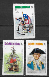 DOMINICA , USA , 1976 , US BICENTENNIAL , SET OF 3 STAMPS , PERF , MNH