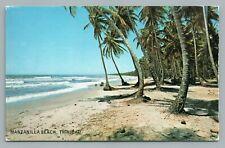 Manzanilla Beach TRINIDAD Vintage Caribbean Palm Tree Postcard Coconut 1970s
