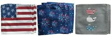 Patriotic Cotton Canvas Square Placemats Set of 4 Flag Fireworks or Whales New