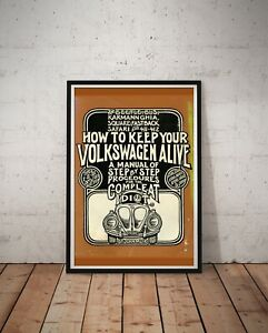 """How To Keep Your VOLKSWAGEN Alive POSTER! - (up to 24"""" x 36"""") - VW Bug - Vintage"""