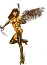 """Pin-up Black Metallic Wings N Boots Angel of Death Vinyl Sticker Decal 6"""" OOP"""