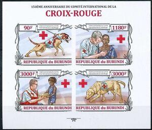 Red Cross, Doctor, Rescue Dog, Medicine, Imperf, Burundi 2013 MNH 4v SS