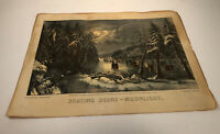 """Vintage Currier & Ives Skating Scene Moonlight Lithograph Print 11.75"""" x 9"""""""