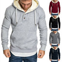 UK Men's Gym Long Sleeve Hoodie Pullover Slim Fit Workout Sweatshirt Outwear