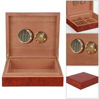 Brown Cedar Wood Wooden Lined Cigar Humidor Humidifier + Hygrometer Case Box