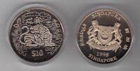 SINGAPORE - CU-NI 10$ UNC COIN 1998 YEAR KM#164 TIGER