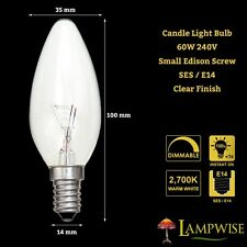 BELL 60W 240V SMALL EDISON SCREW SES/E14 CLEAR CANDLE BULB