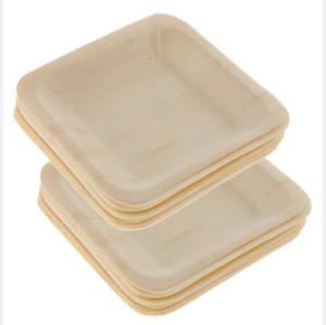 10 Pack Square Biodegradable Eco-Friendly Party Plates Natural Wood Disposabl