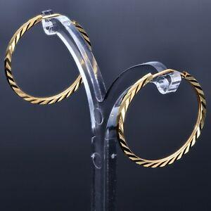 Grosse Geriffelte Creolen Ohrringe 585 14K Echt Gold Ohrschmuck Damen NEU