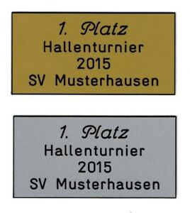 Schild (Gr.M=2,8x5,8 cm) für Pokal,Briefkasten,Tür inkl.4 Zeilen Gravur 2,20 EUR