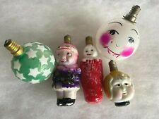 5 Vtg Figural Milk Glass Christmas Lights Two-Sided Baby/Stocking Snowman