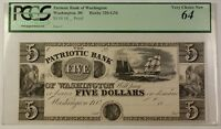 18_ Proof $5 Note Patriotic Bank Washington DC Haxby 320-G34 PCGS Very Ch. 64 RS