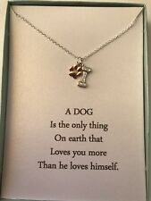 Sterling Silver Necklace Dog Paw And Bone pendant w/ poem