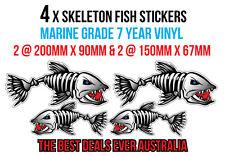 4 x skeleton fish stickers marine grade 2 @ 200mm x 90mm & 2 @ 150mm x 67mm
