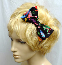 "CUTE PIN UP VINTAGE STYLE PARTY DINOSAUR COTTON 5"" HANDMADE HAIR BOW CLIP E500"
