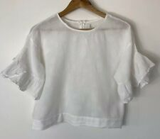 House Of Sienna Size 12 White Crop Short Ruffle Sleeve Polka Dot Detail Sheer