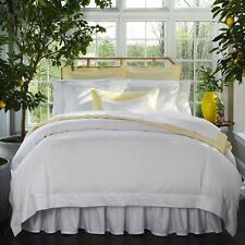 Sferra GENNA F / QUEEN Flat Sheet  CELESTE Percale  WHITE / BUTTER ITALY - NEW!