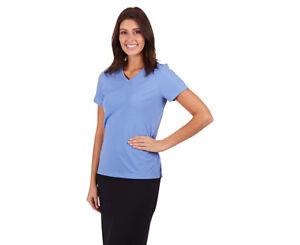 Blue Work Shirt Women's Size 12 Tee Top Healthcare V Neck Matt Jersey Office