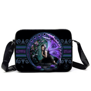 """Purple Wing Fairy 14"""" Side Bag Tote Purse by Anne Stokes"""