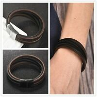 Men Vintage Multilayer Leather Cuff Bracelet Stainless Steel Clasp Bangle