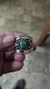 Vtg Sterling Mans Ring Sz19 RARE Green/Blue Turquoise Signed RH 21g Navajo