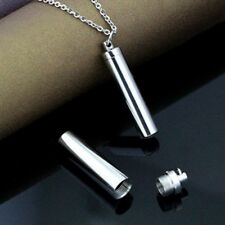 Stainless Steel Memorial Cremation Ash Urn Pendant Pill Vial Tube Chain Necklace