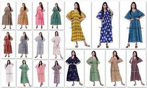 Indien Imprimé Coton Grande Taille Boho Floral Abstrait Tribal Kimono Caftan