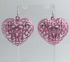 Oversized Large Filigree Purple Heart Earrings G068 Kitsch Fun 5.5 cm Long