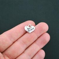 4 Best Friend Heart Charms Antique Silver Tone 2 Sided Rhinestone- SC2408
