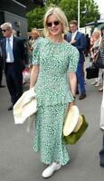 Topshop Floral Slit Ruffle Midi Dress - Green - UK8/EU36/US4