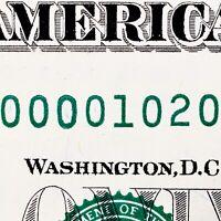 2013 $1 FRN Fancy Serial Number D00001020H Low Serial BIRTHDAY NOTE MA. ZIP CODE