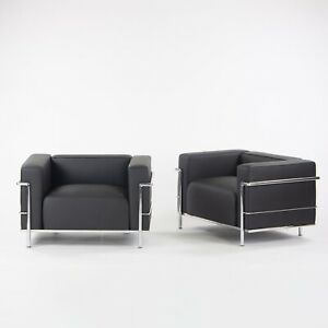 1980s Pair of Cassina Le Corbusier LC3 Lounge Chairs w/ New Black Upholstery