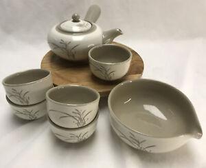 Vintage Kyusu Style Teapot, 5 Cups & Katakuchi Bowl Gray Reed Pattern