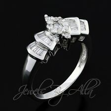 14K (Solid, Unplated) White Gold Womens Baguette Round Diamond Ring 1/2CT