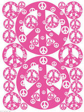 PEACE SIGNS Pink & White big wall stickers 28 vinyl decals room decor teen dorm