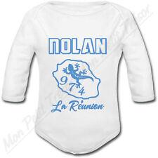 Body Bébé La Réunion 974 bleu avec prénom personnalisé - cadeau de naissance
