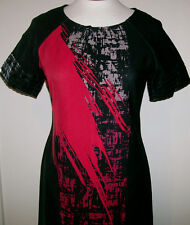 Womens Black Red Abstract Print  Jersey Knit Dress Taylor size 8 Knee Length NWT