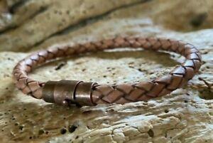 6mm Distressed Tan Bolo Braided Leather Men's Bracelet, Magnet Copper Tone Clasp