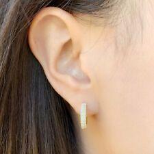 CZ Huggie Hoop Earrings, 14K Gold Plated Sterling Silver, Micro Pave