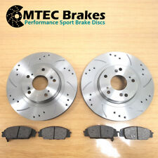 FRONT BRAKE DISCS & MTEC PADS FOR NISSAN NAVARA D40 05-16 DRILLED GROOVED 320mm