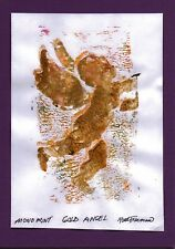 GOLD ANGEL  by RUTH FREEMAN  MONO PRINT 5  X 7  MOUNTED ON MAT