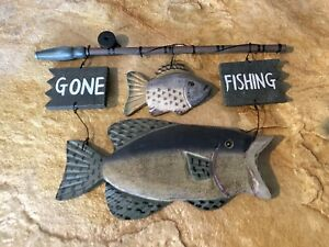 rustic cabin wall decor Gone Fishing!! wood sign